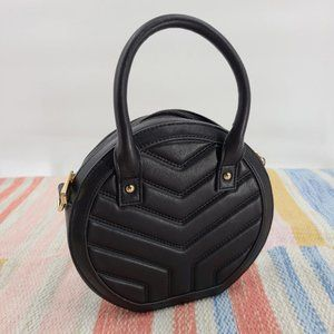 Express Quilted Circle Crossbody Bag Black